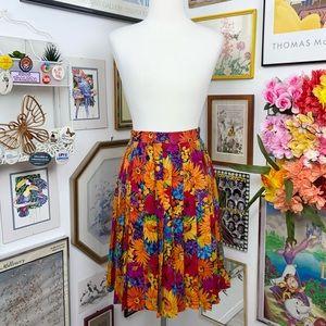 Vintage Silk Floral Pleated Skirt